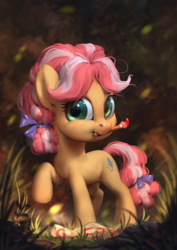 Size: 850x1200   Tagged: safe, artist:assasinmonkey, kettle corn, earth pony, pony, marks and recreation, assasinmonkey is trying to murder us, cute, diabetes, digital painting, female, filly, hnnng, kettlebetes, mouth hold, paintbrush, raised hoof, smiling, solo, weapons-grade cute