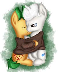 Size: 1813x2260 | Tagged: safe, artist:qbellas, oc, oc only, pony, clothes, cuddling, female, hug, male, simple background, sweatshirt