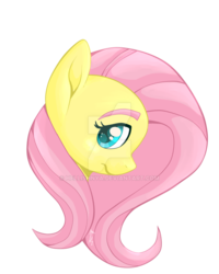 Size: 800x1000 | Tagged: artist:hellishnya, bust, fluttershy, looking at you, looking sideways, portrait, profile, safe, simple background, solo, transparent background, watermark