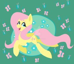 Size: 1600x1391 | Tagged: artist:hellishnya, butterfly, flat colors, fluttershy, folded wings, looking at you, looking up, midair, open mouth, safe, smiling, solo, watermark, wings