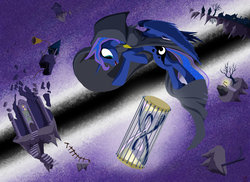 Size: 1280x931   Tagged: safe, artist:lord-destrustor, princess luna, alicorn, pony, bell, cape, cloak, clothes, dreamscape, female, floating island, hourglass, infinity symbol, lamppost, mare, solo, stairs, surreal, tree