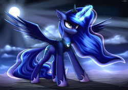 Size: 4000x2828   Tagged: safe, artist:setharu, princess luna, alicorn, pony, angry, badass, cloud, ear fluff, female, full moon, glowing horn, jewelry, mare, moon, night, regalia, serious, serious face, signature, sky, solo, spread wings, standing, stars, wings