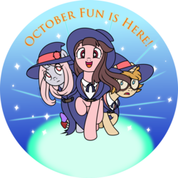 Size: 1024x1024   Tagged: safe, artist:nstone53, pony, akko kagari, anime, clothes, crossover, cute, dress, female, glasses, hat, little witch academia, looking at you, lotte yanson, mare, moe, ponified, raised hoof, smiling, sucy manbavaran, trio, witch, witch hat