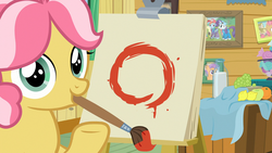 Size: 1920x1080 | Tagged: safe, screencap, babs seed, kettle corn, rainbow dash, rarity, tender taps, earth pony, pony, marks and recreation, circle, circle painting, colt, enso, female, filly, foal, kettle draws, male, mouth hold, paintbrush, solo