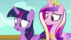 Size: 1280x720   Tagged: safe, screencap, princess cadance, twilight sparkle, alicorn, pony, once upon a zeppelin, twilight sparkle (alicorn)
