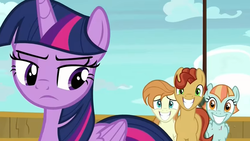 Size: 843x476   Tagged: safe, screencap, agua fresca, lily peel, twilight sparkle, alicorn, pony, once upon a zeppelin, paddleball (character), twilight sparkle (alicorn)