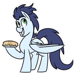 Size: 1024x1034 | Tagged: artist:jen-neigh, food, looking at you, male, pegasus, pie, pony, safe, simple background, soarin', solo, stallion, that pony sure does love pies, transparent background