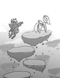 Size: 840x1080 | Tagged: alicorn, artist:itzdatag0ndray, duo, ear fluff, floating island, flying, grayscale, hidden eyes, monochrome, pony, princess celestia, princess luna, safe, sketch, younger