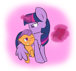 Size: 1800x1700 | Tagged: alicorn, artist:jadedpuzzle, crack shipping, cute, female, gift wrap, glowing horn, magic, male, safe, shipping, simple background, straight, straight shota, telekinesis, tender taps, transparent background, twilight is a foal fiddler, twilight sparkle, twilight sparkle (alicorn), twitaps