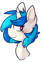 Size: 553x807 | Tagged: safe, artist:urbanqhoul, dj pon-3, vinyl scratch, unicorn, bust, chest fluff, ear fluff, female, mare, missing accessory, no glasses, profile, simple background, smiling, solo, transparent background