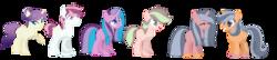 Size: 2168x472 | Tagged: safe, artist:eclispeluna, oc, oc only, earth pony, pegasus, pony, unicorn, female, magical lesbian spawn, male, mare, offspring, parent:applejack, parent:fluttershy, parent:pinkie pie, parent:rarity, parent:starlight glimmer, parent:twilight sparkle, parents:flarity, parents:glimmerjack, parents:glimmerpie, parents:twijack, simple background, stallion, transparent background