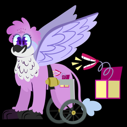 Size: 3000x3000 | Tagged: amputee, artist:webkore, classical hippogriff, congenital amputee, hippogriff, interspecies offspring, magical lesbian spawn, missing limb, oc, oc only, offspring, parent:gabby, parent:scootaloo, parents:gabbyloo, safe, solo, stump, wheelchair