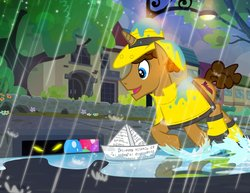 Size: 1000x773 | Tagged: safe, artist:pixelkitties, pony, unicorn, castle mane-ia, balloon, clothes, glowing eyes, it, it's a trap, josh haber, male, night, parody, pixelkitties' brilliant autograph media artwork, ponified, rain, raincoat, script, stallion, storm drain, street, this will end in death, this will not end well, too dumb to live, wellington boots