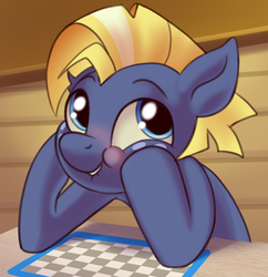 Size: 795x820 | Tagged: safe, artist:taneysha, star tracker, earth pony, pony, once upon a zeppelin, blushing, cute, lip bite, male, solo, trackerbetes