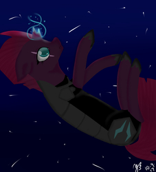 Size: 980x1080 | Tagged: safe, artist:midnightwolf90247, tempest shadow, pony, unicorn, my little pony: the movie, armor, broken horn, eye scar, falling, female, glowing horn, horn, mare, night, scar, solo, sparking horn, stars