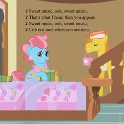Size: 640x640 | Tagged: applebuck season, candy, carrot cake, carrot cup, cropped, cup cake, edit, edited screencap, female, food, g1, g1 to g4, generation leap, lollipop, lyrics, male, my little pony tales, present, safe, screencap, shipping, song reference, straight, sugarcube corner, text