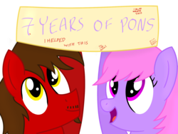Size: 1600x1200   Tagged: safe, artist:toyminator900, oc, oc only, oc:chip, oc:melody notes, pony, banner, duo, happy birthday mlp:fim, mlp fim's seventh anniversary, simple background, transparent background