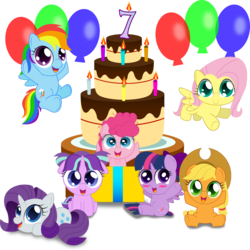 Size: 1500x1500 | Tagged: safe, artist:spellboundcanvas, applejack, fluttershy, pinkie pie, rainbow dash, rarity, starlight glimmer, twilight sparkle, alicorn, earth pony, pegasus, pony, unicorn, balloon, birthday candles, cake, candle, chibi, cute, dashabetes, diapinkes, female, food, glimmerbetes, happy birthday mlp:fim, jackabetes, mane six, mlp fim's seventh anniversary, raribetes, shyabetes, simple background, sitting, transparent background, twiabetes, twilight sparkle (alicorn), weapons-grade cute