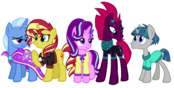 Size: 1850x930   Tagged: safe, artist:thecheeseburger, fizzlepop berrytwist, starlight glimmer, stygian, sunset shimmer, tempest shadow, trixie, pony, unicorn, my little pony: the movie, shadow play, broken horn, clothes, counterparts, cute, eye contact, eye scar, female, frown, grin, lidded eyes, looking at each other, male, mare, raised eyebrow, reformed, scar, simple background, smiling, stallion, transparent background, twilight's counterparts, unamused