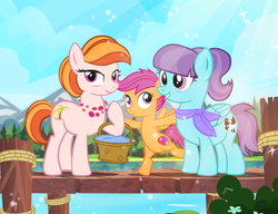 Size: 1000x769 | Tagged: safe, artist:pixelkitties, aunt holiday, auntie lofty, scootaloo, earth pony, pegasus, pony, ponyville mysteries, riddle of the rusty horseshoe, artist interpretation, ascot, aunt and niece, basket, couple, cute, cutie mark, family, female, filly, lesbian, lofty day, pier, scootalove, shipping, smiling, the cmc's cutie marks, water