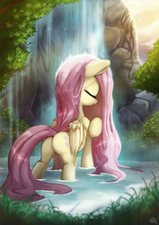 Size: 1400x1980 | Tagged: safe, artist:fidzfox, fluttershy, pegasus, pony, beautiful, calm, cute, eyes closed, female, flutterbutt, grass, mare, plot, pond, scenery, shyabetes, solo, waterfall, waterfall shower, wet mane