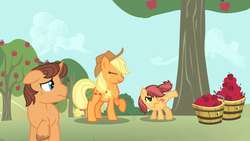 Size: 1024x576 | Tagged: applejack, artist:saukapie, earth pony, oc, oc:honey crisp, oc:solar flare, offspring, parent:applejack, parent:caramel, parents:carajack, pony, safe, story included, unicorn