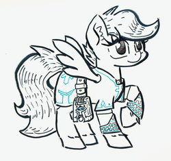 Size: 894x841 | Tagged: artist:shoeunit, breath of the wild, clothes, female, filly, inktober, mare, pegasus, pony, safe, scootaloo, simple background, solo, the legend of zelda, traditional art
