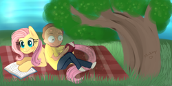 Size: 4320x2160 | Tagged: artist:lamentedmusings, book, crossover, fluttershy, morty smith, pony, prone, reading, rick and morty, safe, tree