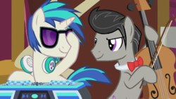Size: 900x506 | Tagged: safe, artist:rememberstar, edit, edited screencap, screencap, dj pon-3, octavia melody, vinyl scratch, earth pony, pony, unicorn, slice of life (episode), cello, dj col-7, headphones, male, musical instrument, octavius, prolonged eye contact, record scrape, rule 63, scene interpretation, stallion, turntable