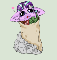 Size: 1024x1078 | Tagged: :3, artist:tillie-tmb, burrito, chibi, derp, ear fluff, floppy ears, food, heart, pony, pony burrito, safe, simple background, solo, starlight glimmer, tomato, tongue out, wat