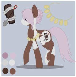 Size: 951x960 | Tagged: safe, artist:kikyoakiyama, oc, oc only, earth pony, pony, coffin, color palette, cutie mark, female, jewelry, mare, markings, necklace, paint pony, reference sheet, shovel, solo