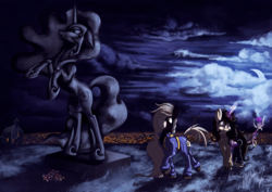 Size: 2120x1500 | Tagged: alicorn, artist:shivannie, clothes, cloud, costume, night, nightmare moon, oc, pony, safe, statue, unicorn
