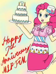 Size: 1668x2224 | Tagged: safe, artist:infinityr319, pinkie pie, human, birthday cake, cake, clothes, dress, female, food, happy birthday mlp:fim, humanized, mlp fim's seventh anniversary, solo
