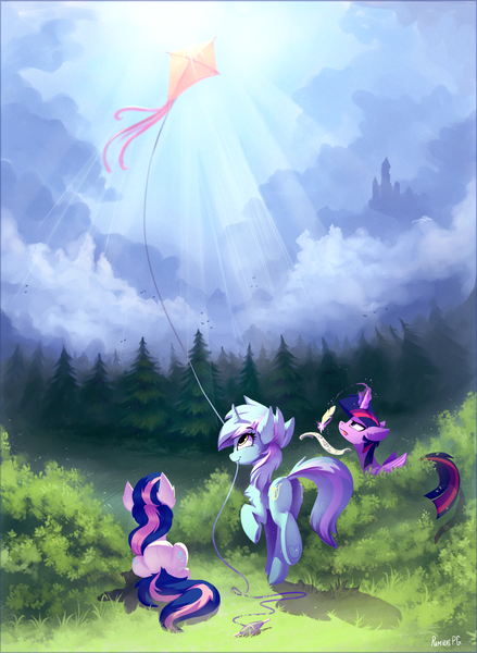 Size: 1888x2579 | Tagged: alicorn, artist:ramiras, bon bon, chest fluff, crepuscular rays, earth pony, featured image, female, kite, lyra heartstrings, magic, mare, mouth hold, plot, pony, quill, rear view, safe, smiling, sweetie drops, tongue out, tree, trio, twilight sparkle, twilight sparkle (alicorn), underhoof, unicorn