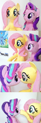 Size: 1024x3062 | Tagged: safe, artist:nekokevin, applejack, fluttershy, pinkie pie, rainbow dash, rarity, starlight glimmer, twilight sparkle, pegasus, pony, unicorn, series:nekokevin's glimmy, boop, cute, female, glimmerbetes, glimmershy, irl, life size, looking at each other, looking at you, mare, noseboop, photo, plushie, poster, shyabetes, smiling