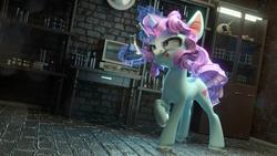Size: 1920x1080 | Tagged: safe, artist:v747, oc, oc only, pony, unicorn, 3d, blender, erlenmeyer flask, female, horseshoes, magic, mare, raised hoof, solo, telekinesis, test tube, tongue out, wallpaper