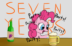 Size: 780x498 | Tagged: alcohol, artist:itsthinking, beer, gray background, happy birthday mlp:fim, mlp fim's seventh anniversary, party, pinkie pie, safe, simple background, smiling, solo, wine