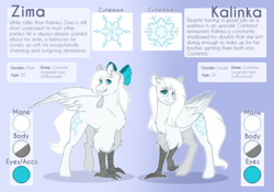 Size: 1280x896 | Tagged: artist:lolepopenon, blue eyes, bow, duo, hippogriff, oc, oc:kalinka, oc only, oc:zima, reference sheet, safe, siblings, twins