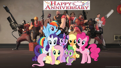 Size: 1920x1080 | Tagged: alicorn, anniversary, applejack, crossover, demoman, engineer, fluttershy, happy birthday mlp:fim, heavy, mane seven, mane six, medic, mlp fim's seventh anniversary, pinkie pie, pyro, rainbow dash, rarity, safe, scout, sniper, soldier, spike, spy, team fortress 2, twilight sparkle, twilight sparkle (alicorn)