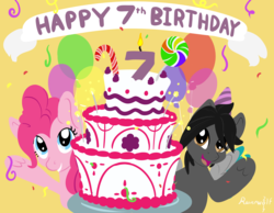 Size: 5169x4016 | Tagged: absurd res, artist:humble-ravenwolf, artist:ravenhoof, balloon, birthday cake, cake, food, happy birthday mlp:fim, mlp fim's seventh anniversary, oc, oc:ravenhoof, pegasus, pinkie pie, pony, safe, sparkler (candle)
