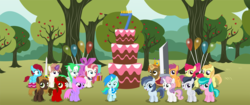 Size: 5477x2290 | Tagged: age regression, alicorn, apple, apple bloom, apple tree, aquamarine, artist:cyanlightning, balloon, bow, buster sword, buttoncorn, button mash, cake, cape, clothes, colt, crown, earth pony, female, filly, final fantasy, final fantasy vii, food, hair bow, happy birthday mlp:fim, jewelry, king button mash, kneesocks, looking at you, male, mlp fim's seventh anniversary, noi, oc, oc:aureai, oc:autumn moon, oc:chip, oc:cyan lightning, oc:emerald lightning, oc:iphigenia, oc:mellow rhythm, oc:melody notes, open mouth, pegasus, pony, regalia, rule 63, rumble, safe, scarf, scootaloo, shady daze, smiling, socks, stockings, sweetie belle, sword, tree, unicorn, vector, weapon, younger