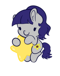 Size: 3493x4462 | Tagged: safe, artist:wickedsilly, oc, oc only, oc:fruity blossom, pony, chibi, cute, female, mare, ocbetes, simple background, smiling, solo, stars, transparent background, warp star