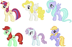 Size: 1850x1198 | Tagged: safe, artist:themexicanpunisher, candy apples, cloud kicker, flitter, moondancer, north point, surprise, alicorn, pony, alicornified, alternate mane six, apple family member, moondancercorn, race swap, recolor, simple background, white background