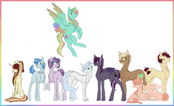 Size: 3090x1881 | Tagged: artist:holoriot, dracony, female, hybrid, interspecies offspring, magical lesbian spawn, male, mare, oc, oc:apple buck, oc:blitz tornado, oc:daybreak, oc:marigold leaf, oc:moonstone, oc only, oc:onyx, oc:sugar rush, oc:sweet tooth, oc:velvet blossom, offspring, parent:applejack, parent:big macintosh, parent:fluttershy, parent:party favor, parent:pinkie pie, parent:rainbow dash, parent:rarity, parents:fluttermac, parents:partypie, parent:spike, parents:sparity, parents:sunsetsparkle, parents:troublejack, parent:sunset shimmer, parents:zephdash, parent:troubleshoes clyde, parent:twilight sparkle, parent:zephyr breeze, pegasus, pony, safe, stallion, unicorn