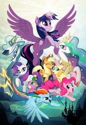 Size: 1650x2400   Tagged: safe, artist:joy-ang, applejack, fluttershy, pinkie pie, princess celestia, rainbow dash, rarity, spike, storm king, twilight sparkle, alicorn, dragon, pony, my little pony: the movie, the art of my little pony: the movie, concept art, mane seven, mane six, twilight sparkle (alicorn)