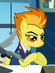 Size: 360x480   Tagged: safe, screencap, spitfire, pegasus, pony, wonderbolts academy, cropped, drill sergeant, female, gendo pose, hooves together, mare, necktie, raised eyebrow, solo, wonderbolts