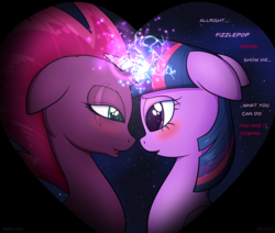 Size: 3525x2985 | Tagged: safe, artist:haltie, fizzlepop berrytwist, tempest shadow, twilight sparkle, my little pony: the movie, blushing, broken horn, dialogue, female, horns are touching, lesbian, magic, night, romantic, shipping, sparking horn, starry backdrop, stars, tempestlight