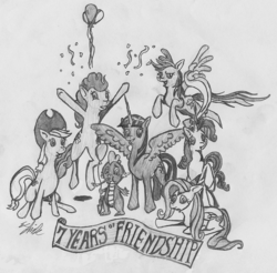 Size: 1121x1103 | Tagged: alicorn, applejack, artist:finnect, balloon, confetti, fluttershy, happy birthday mlp:fim, hat, mane seven, mane six, mlp fim's seventh anniversary, party hat, party horn, pinkie pie, rainbow dash, rarity, safe, spike, traditional art, twilight sparkle, twilight sparkle (alicorn)
