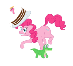 Size: 1277x1159 | Tagged: artist:exhumed legume, birthday candles, cake, derpibooru exclusive, earth pony, female, food, gummy, happy birthday mlp:fim, mare, mlp fim's seventh anniversary, pinkie pie, pony, safe, simple background, transparent background, tripping
