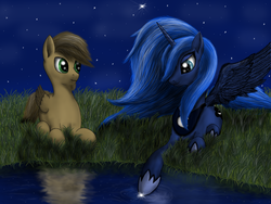 Size: 1600x1200 | Tagged: safe, artist:pony-stark, princess luna, oc, alicorn, pegasus, pony, eye reflection, female, folded wings, grass, lake, lidded eyes, male, mare, missing accessory, night, outdoors, prone, reflection, sky, spread wings, stallion, stars, water, wings